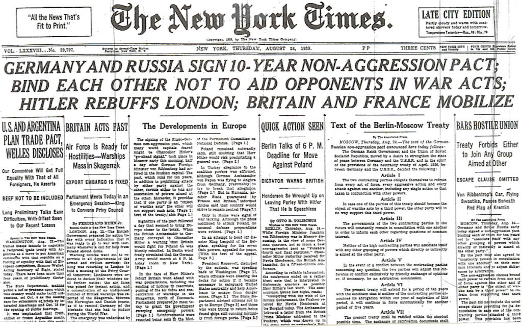 Image result for nazis and soviets sign non aggression pact