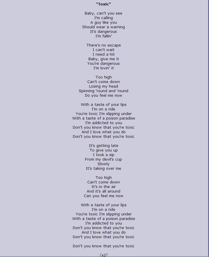 Toxic - Britney Spears (Lyrics) - YouTube