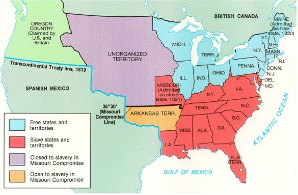 Causes Of Civil War - 1819 map of us free and slave states