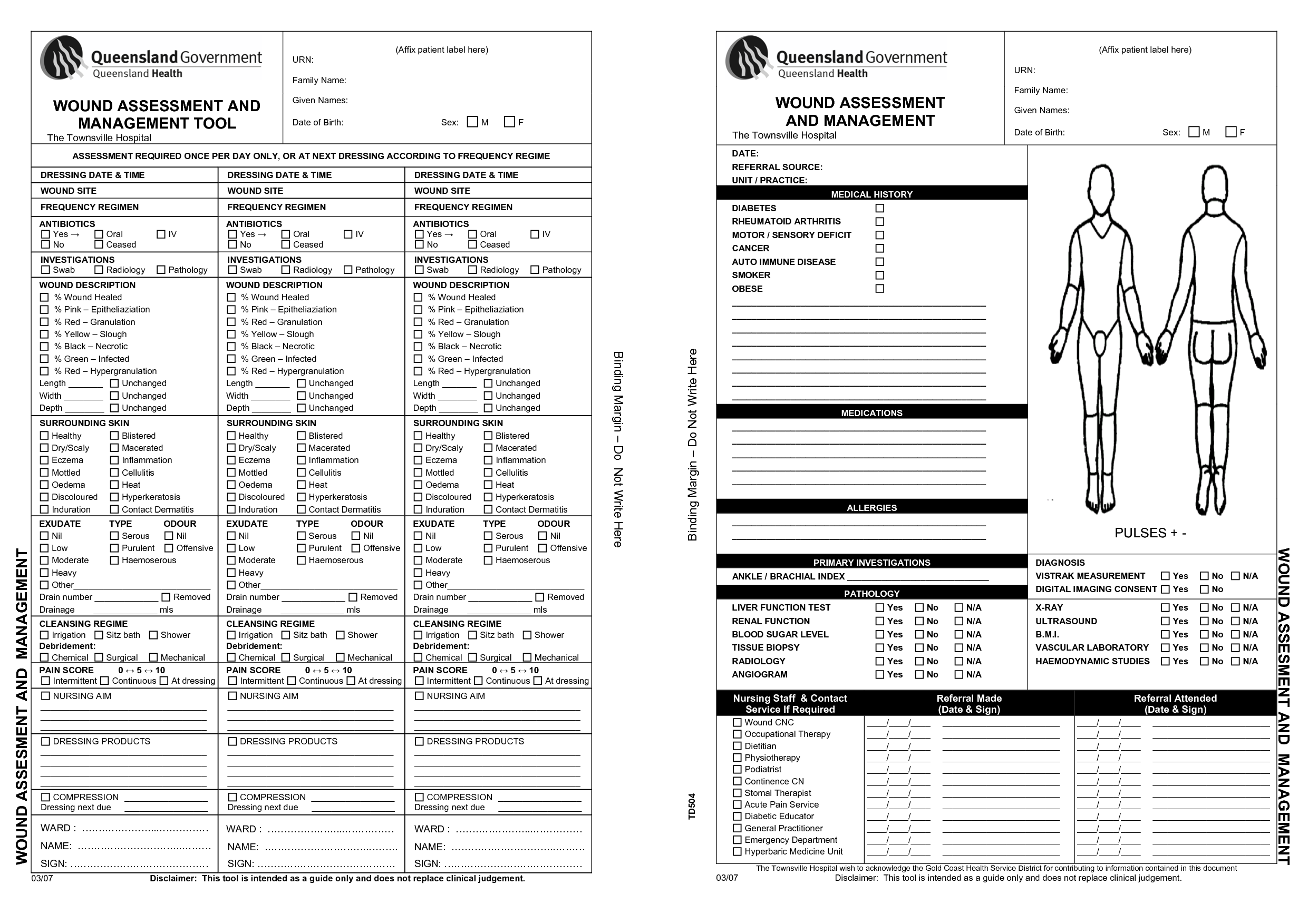 Revered image inside printable skin assessment form