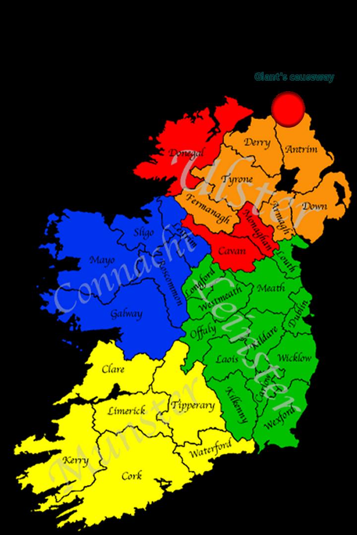 Map Of Ireland Giants Causeway.Map Of Ireland Giant S Causeway Twitterleesclub