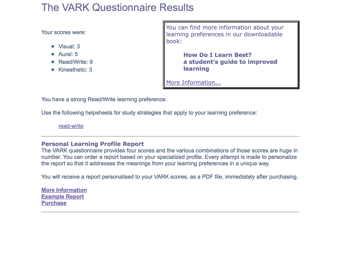 vark questionnaire results