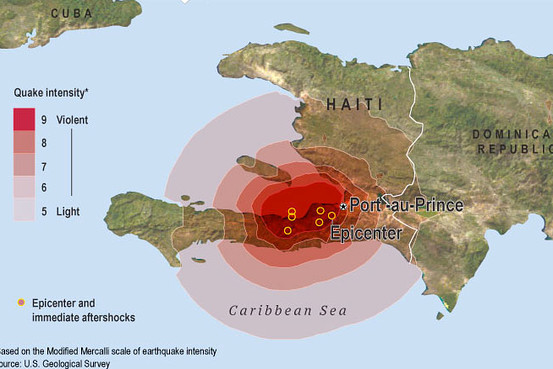 Haiti Earthquake Map Of Affected Area