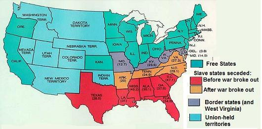 The American Civil War - Union confederate us territories and border states map