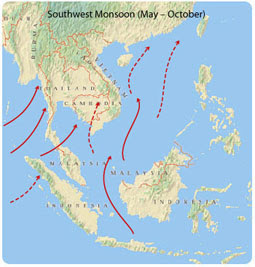 monsoons monsoon and southern hemisphere Monsoons mostly occur in asia and india because the northern hemisphere has more land than the southern hemisphere.