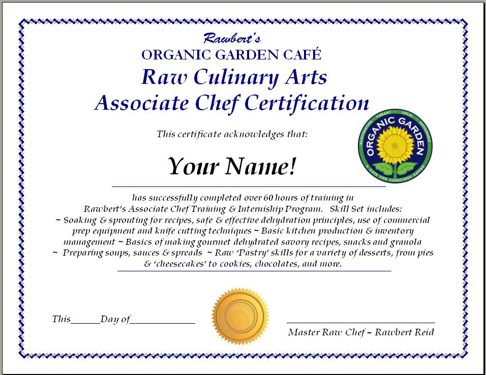 Cooking Certificate Template
