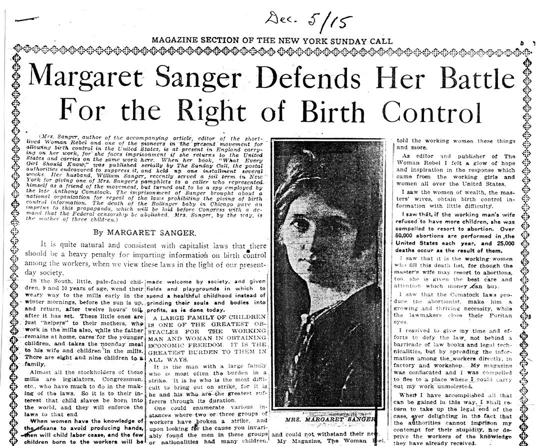 margaret sanger and birth control essay Sanger speech margaret essay control birth analysis december 20, 2017 @ 4:28 pm quality of life research paper african literature and culture essays.