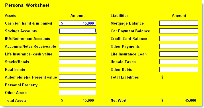 Personal financial worksheet template
