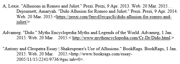 romeo and juliet allusions works cited