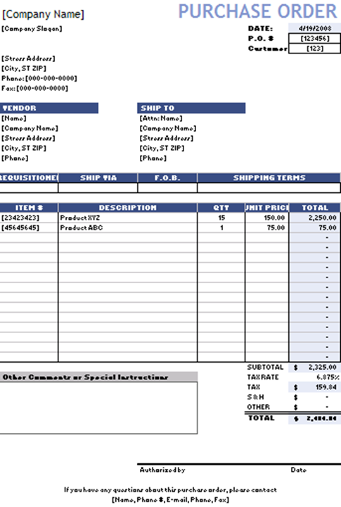 Purchase Order  Local Purchase Order Form