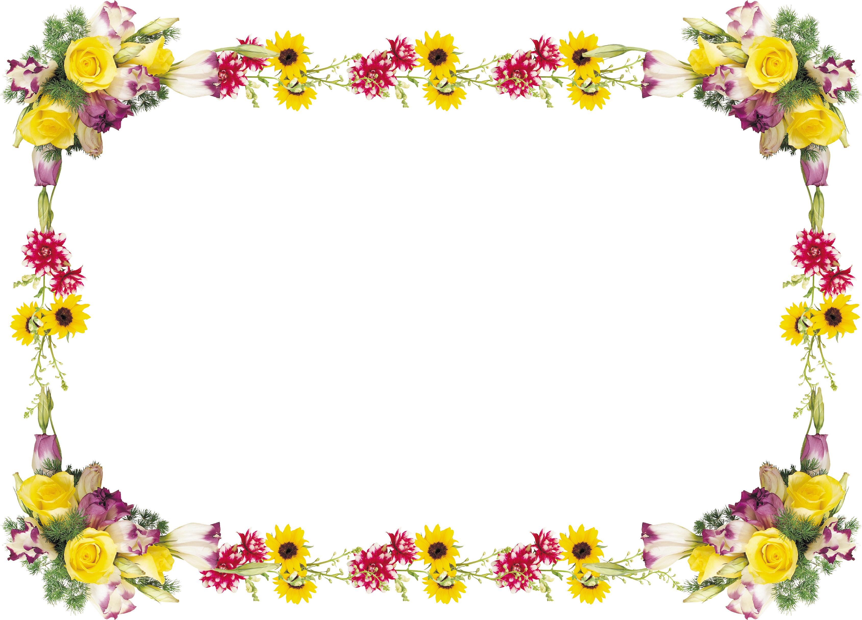 Рамки для фото с цветами на прозрачном фоне