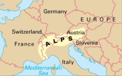 Location Of Alps Mountains On World Map 55182 | USBDATA
