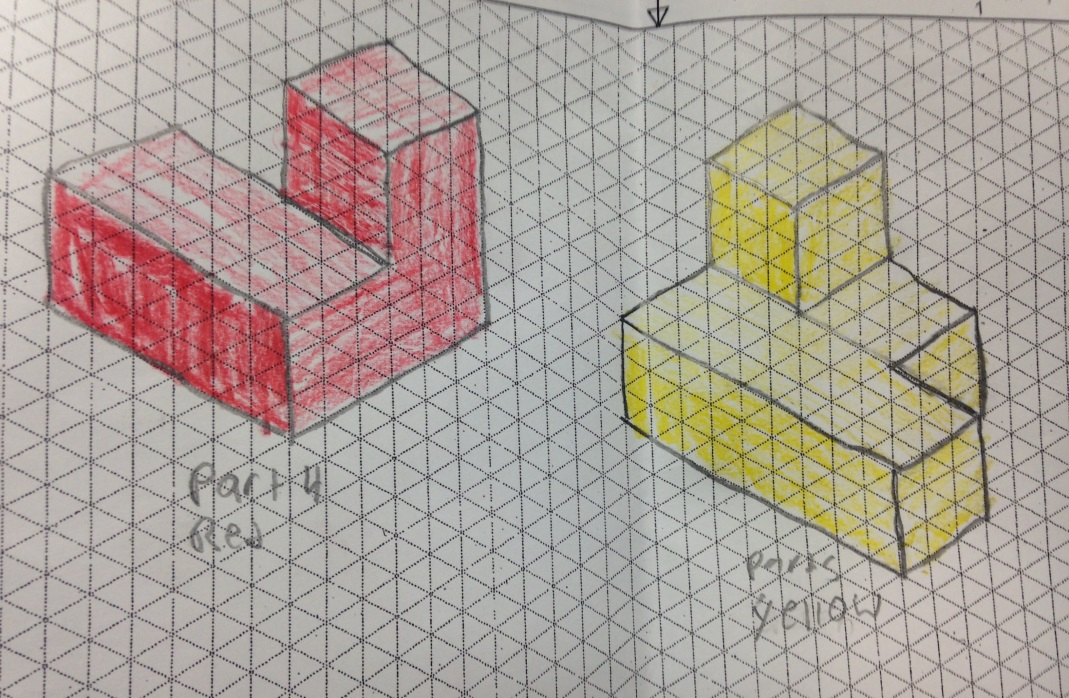 pillow drawing isometric - 1069×698