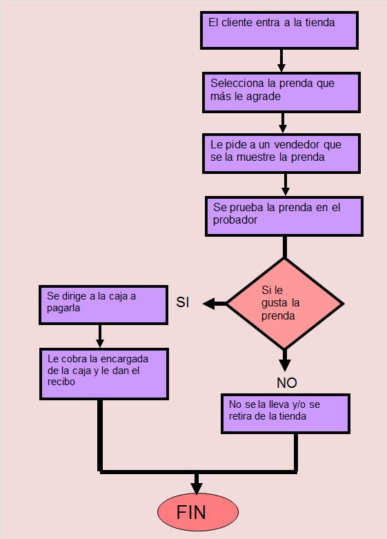 diagrama de flujo de proceso de una tienda de ropa