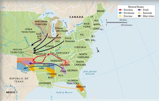 Andrew Jackson - Indian removal seminoles on map of us