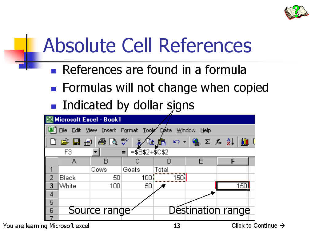 How to make an excel formula absolute - Relative References Change When A Formula Is Copied To Another Cell Absolute References On The Other Hand Remain Constant No Matter Where They Are