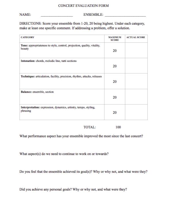Concert evaluation essay