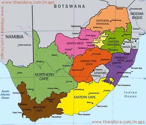 Sud Africa Cartina Politica.Il Sudafrica