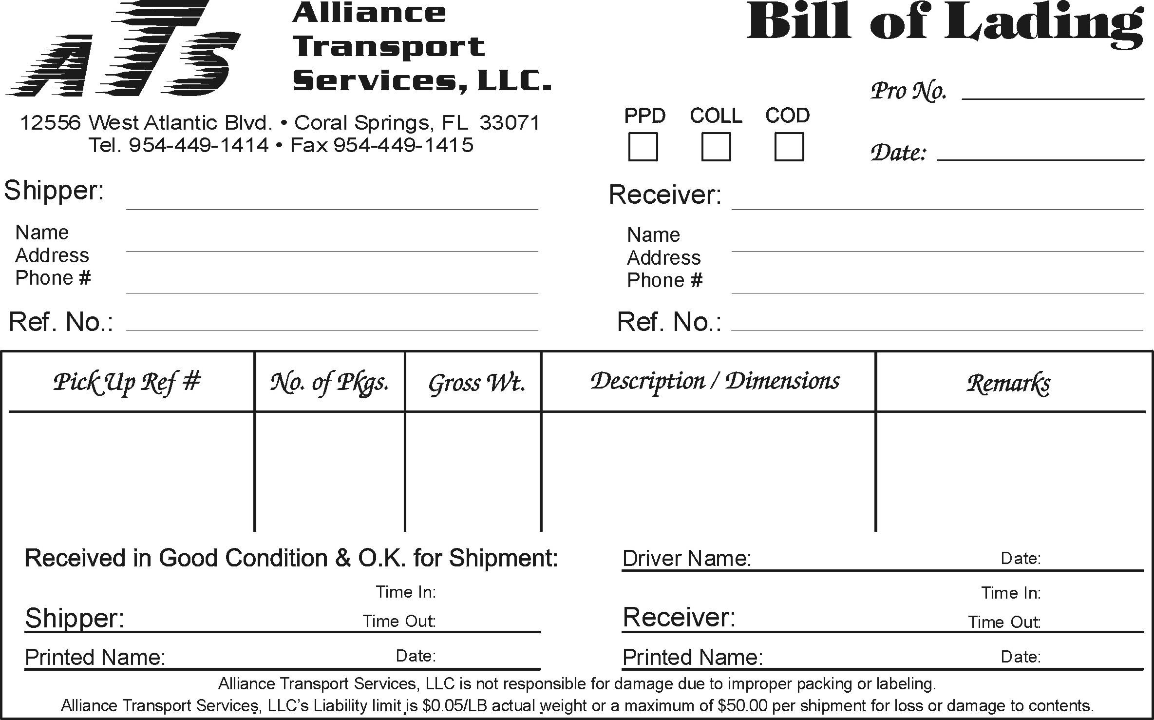 example of bill of lading document