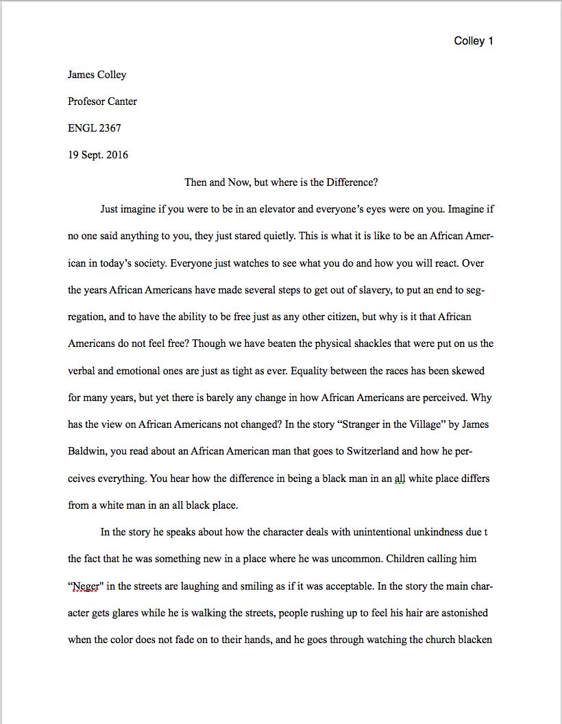 Essay identity stranger in the village analysis
