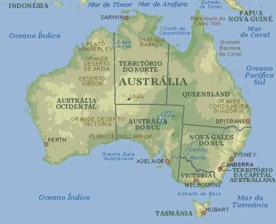 mapa da austrlia
