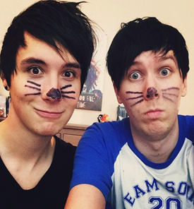 This Is A Selfie Of Dan Danisnotonfire And Phil With Cat Whiskers The Are Their Thing That They Have Which Not On Fire