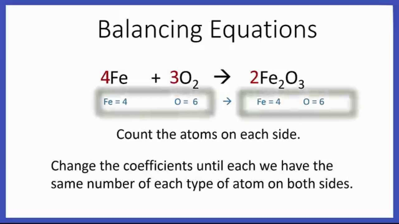 balancing chemical equations examples and answers