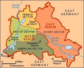 The Berlin Wall - Berlin map east west