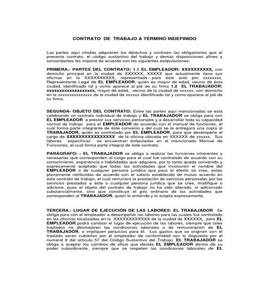 Formato contrato individual de trabajo a trmino fijo for Contrato indefinido ejemplo