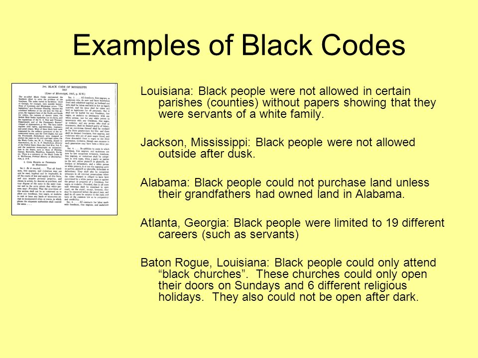 mississippi black codes essay example The black codes of mississippi, and for that matter other states, attempted to strip african-americans of some of the freedoms they gained after the for example, these laws prohibited most former slaves from carrying since there were no documents attached, i have located a copy of the black codes in.