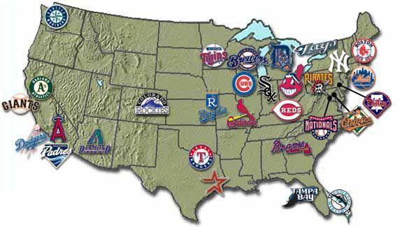 Pastpresentfuture - Map of us baseball stadiums