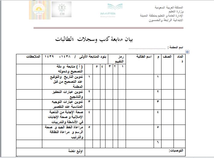 سجل متابعة الطالبات سجل متابعة الأداء ومشاركة الطالب