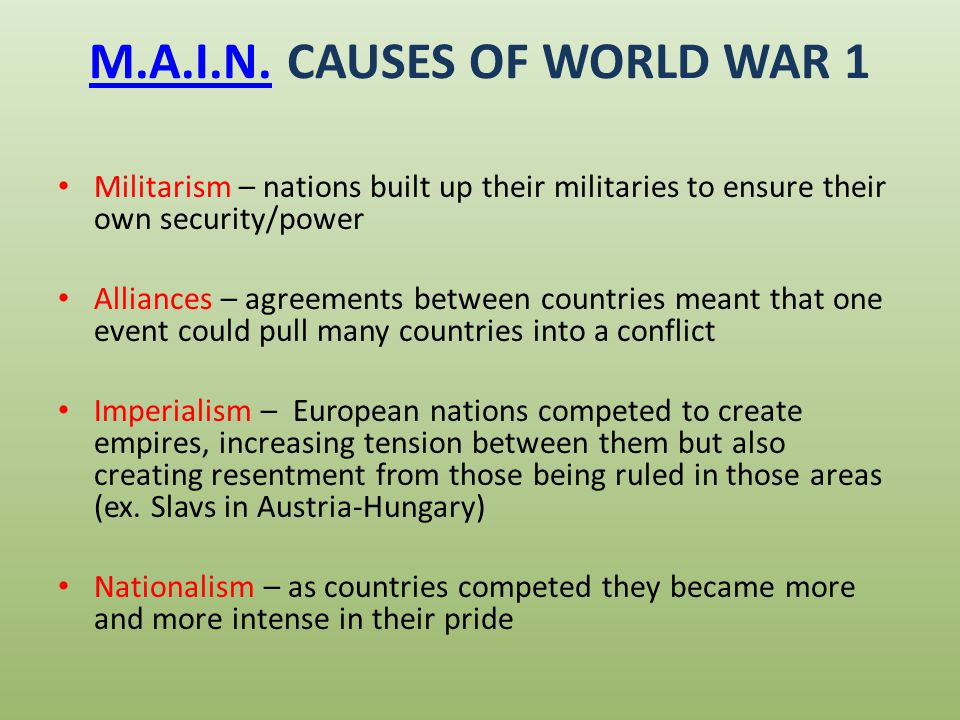 causes of ww1 essay nationalism Imperialism during the 19th century and into the early 20th century was viewed as one of the major long term causes of the first world war having a colony at that time was the thing to have because it was such a sought after entity, it caused many tensions between the major imperialistic powers in europe.