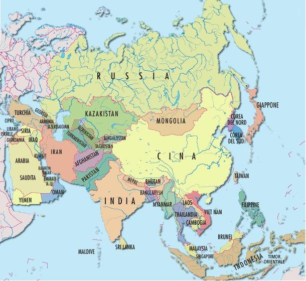 La Cartina Geografica Dell Asia.L Asia