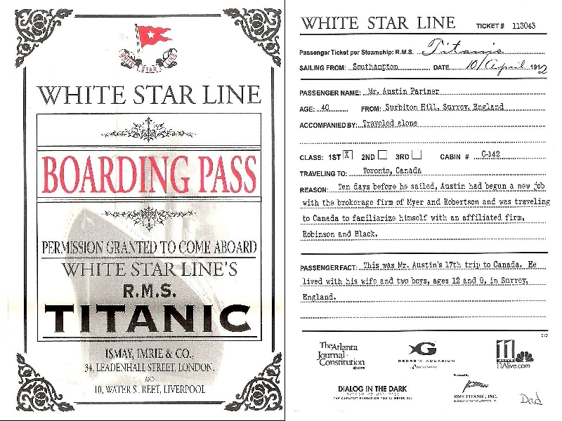 A boarding pass of RMS Titanic