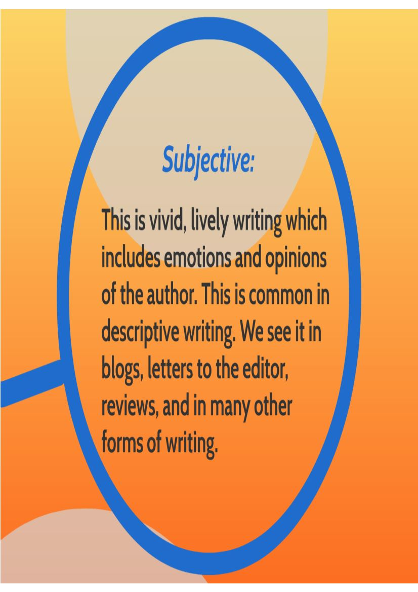 descriptive writing on  what you are describing if a word or phrase is specific it is exact and precise the opposite of specific language is language that is vague general