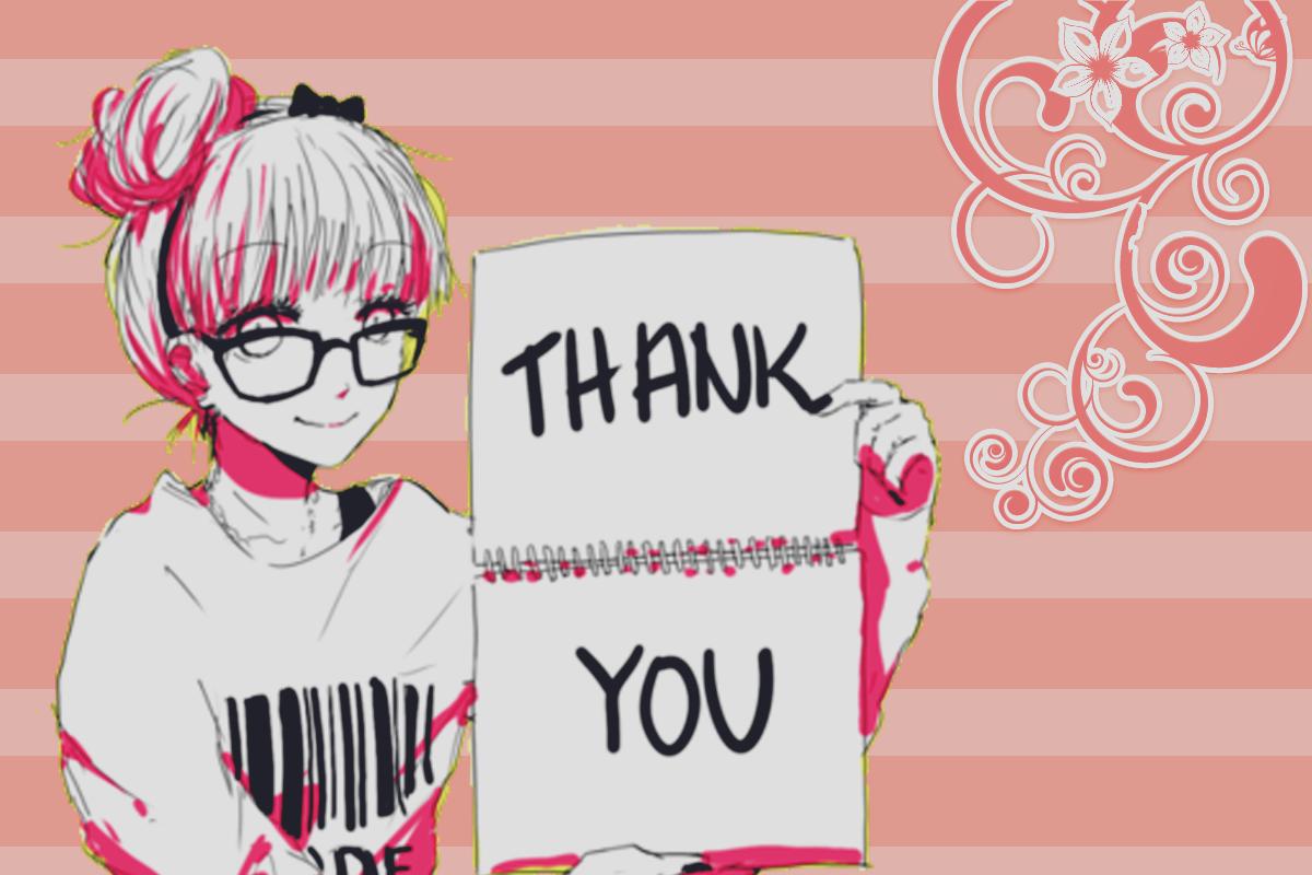 Аву, аниме картинка с надписью спасибо