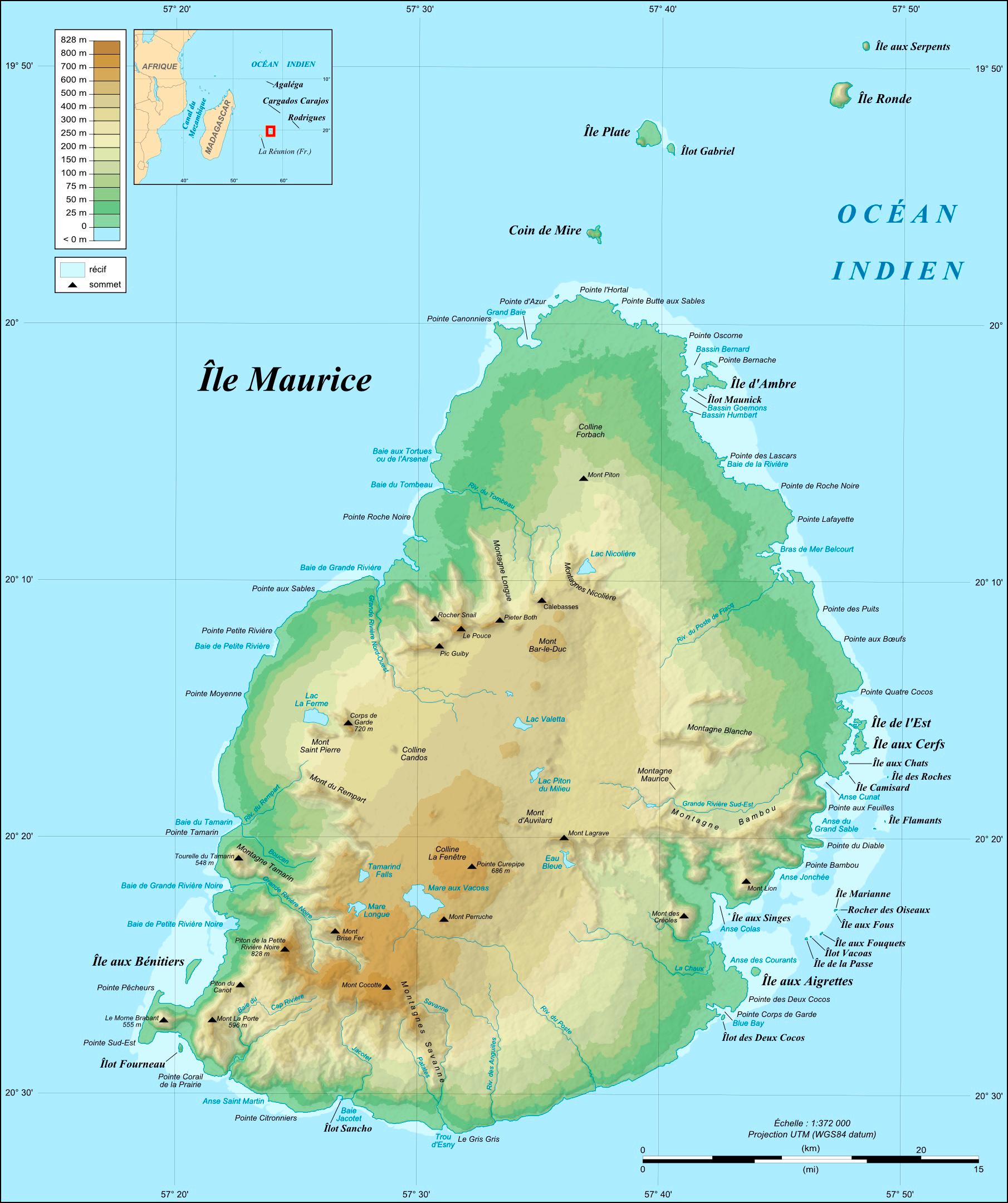 Carte de l'Ile Maurice plan des 30 lieux à voir