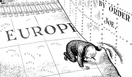 cold war iron curtain political cartoon