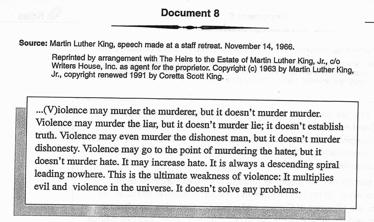 civil rights 1995 dbq Directions: the following question requires you to construct a coherent essay that integrates your interpretation of documents a-k and your knowledge of the period referred to in the question.
