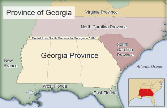 The Colony Of Georgia: Map Of Georgia Colony In 1732 At Usa Maps