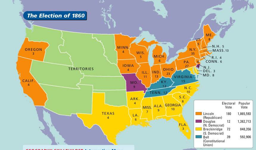 Generalinterest - Map of us confederate and union states 1860