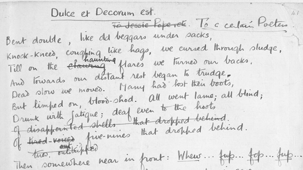wilfred owens poetry Lieutenant wilfred owen, mc, an officer of the manchester regiment, was killed in action on the sambre canal a week before the armistice, aged 25 the twenty-three poems of this collection are .