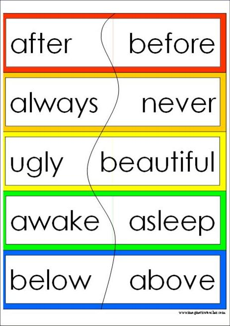 Worksheets Antonyms Examples 100 psa on emaze