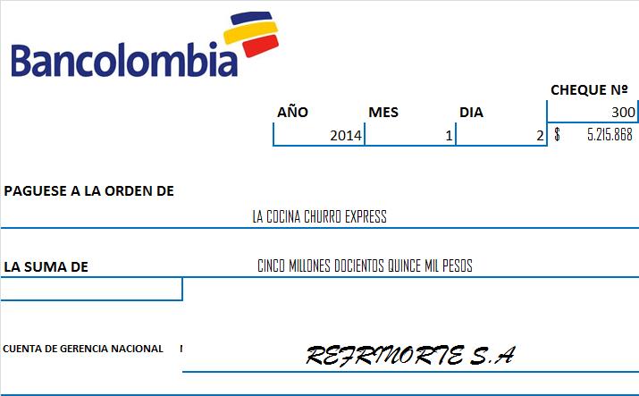 Presentacion proyecto la cocina del churro express ltda Bod solicitud de chequera