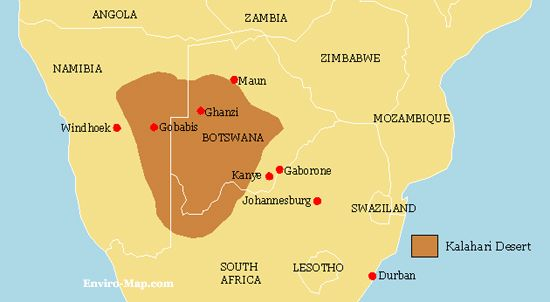 Kalahari Desert On Africa Map Map Of Africa