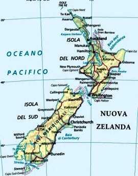 Cartina Nuova Zelanda.Nova Zelandia Mapa Politico