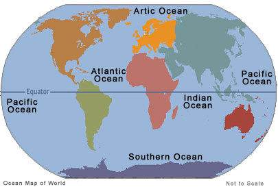 Seven Continents Five Oceans And Four Hemispheres On Emaze - Map showing continents and oceans