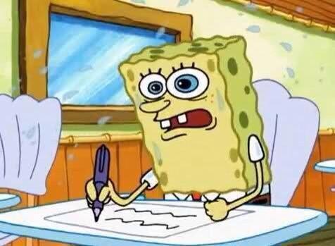 Spongebob doing his essay writer