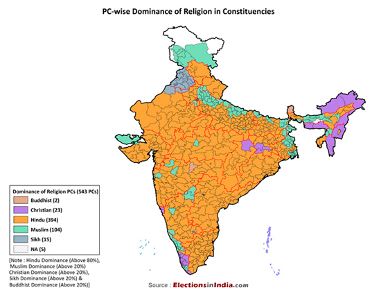 (Map Of Religion Today In India)